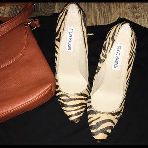 Steve Madden real calf fur leopard leather heel